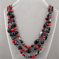 Multi Strand Hematite Onyx & Pink Jade Necklace