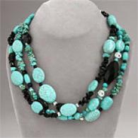 Multi Run aground Turquoise & Onyx Necklace