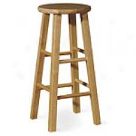 Natural Round Top Wooden Barstool