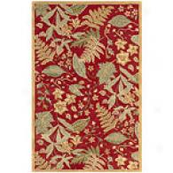 Nature Red Fern Hand Tufted Wool Rug