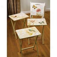Natures Wonder Tv Trays Set Of 4 With Stand