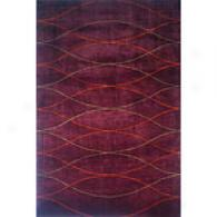 New Wave Wine Hand Tufted Wool Rug
