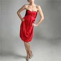 Nicole Miller Red Strapless Silk Charmeuse Dress