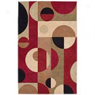 Nourison Aspects Burgundy Geometric Wool Rug