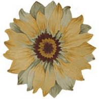 Nourison Blooms Yellow Flower Shaped Wool Rug