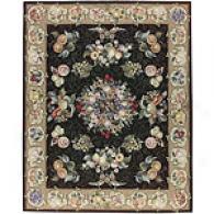 Nourison Nijoux Black Floral Wool Square Rug
