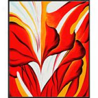 O'keeffe Red Canna Framed Oil Painting