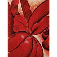 O'kerffe Red Flower Wrap Oil On Canvas Painting