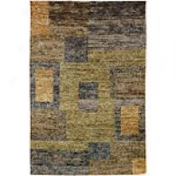 O'lana Pedantic  & Light Green Hand Knotted Rug