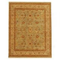 Opus Green & Ivory Hand-knotted Wool Rug