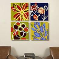 Painted Flowers Set Of 4 Outdoor Canvas Prints