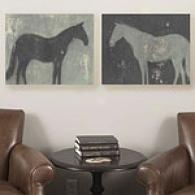 Painted Horse Set Of 2 16in X 20in Canvas Prints