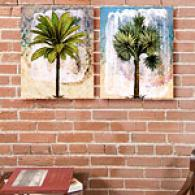Palms Fresco Set Of 2 16in X 61in Canvas Prints