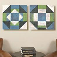 Patchwork Tiles Set Of 2 16in X 16ib Canvas Prints