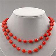 Paula Abdul Long Blood Red Bead Necklace