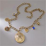 Paula Abdul Oversized Lockt & Charm Necklace