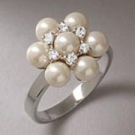 Pearl & Cubic Zirconia Sterling Silver Floral Ring