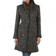 Petite Dkny Ruffle Front Wool Blend Coat