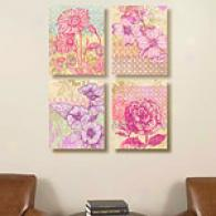 Pink Party Set Of 4 16in X 16in Canvas Prints