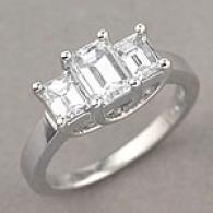 Platinum 2.98 Cttw Emerald Cut Diamond Ring