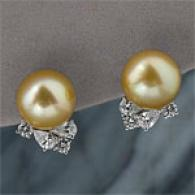 Platinum Golden South Sea Pearl & Diamond Earring