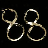 Polished 14k Yellow Gold Figure 8 Hoop Earrings