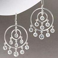 Polished Silver Chandelier Cubic Zirconia Earrings