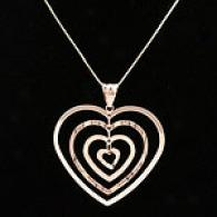 Polished Wave Heart Pendant, 14k Rose Gold