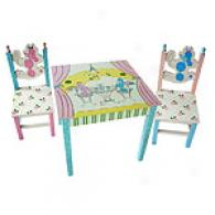 Poodles In Paris Table & 2 Chairs