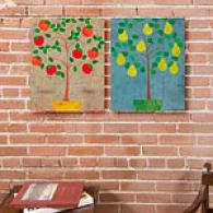 Potted Trees I Set Of 2 Canvas Prints