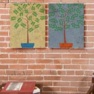Potted Trees Ii 2pc 16inx20in Canvas Print Set