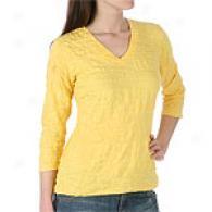 Pow Wow Solid Crinkle 3/4 Sleeve Shirt