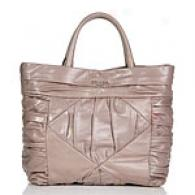 Prada Grey Leather Rouched Tote