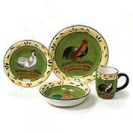 Provence Cock 16pc Stoneware Dinnerware Set