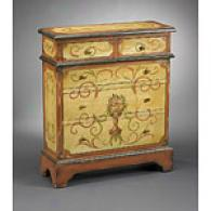 Pumpkin And Beige Floral Design 5 Drawer Cabinet
