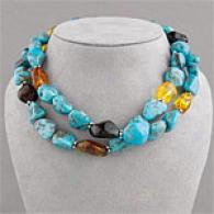 Quartz, Natural Turquoise & Amber Chunky Neclkace