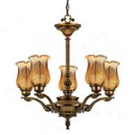 Quoizel Leaf Art Glass Chandelier