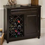 Raised Panel Black Wine Cabinet