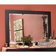 Raised Panel Collection Blak Beveled Glass Mirror