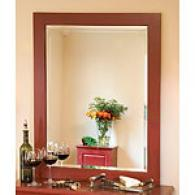 Rzised Panel Red Beveled Glass Mirror