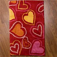 Red And Pink Hearts Kids Rug