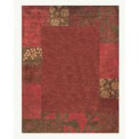 Red Floral Square Border Hand Tufted Wool Rug