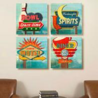 Retro Signs Offer for sale Of 4 16in X16in Canvas Prints