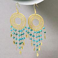 Rf Designer 18k Plated Turquoise Chandelier Ear