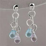 Roberto Convert  23.00cttw. Topaz & Amethyst Earrings