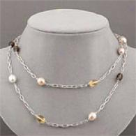 Roberto Coin Silver Pearl & Quartz Rolp Necklace