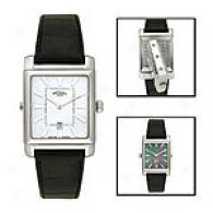 Rotary Men's Reversible Steel & Brown Watch