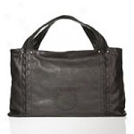 Salvatore Ferragamo Black Leather Tote With Logo