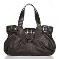 Salvatore Ferragamo Black Leather Emma Satchel