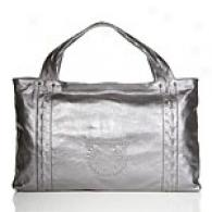 Salvatore Ferragamo Pewter Leather Tote With Logo